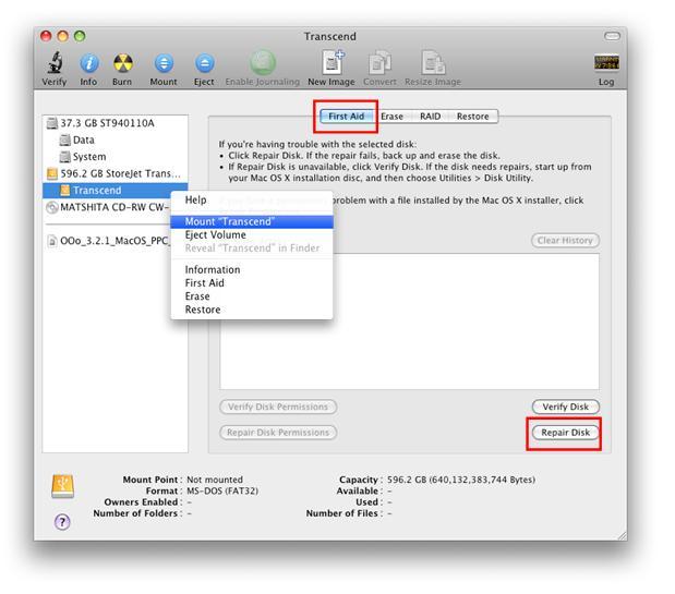 如何在mac上修复storejet (移动硬盘)?